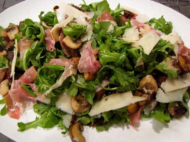 Warm Mushroom & Arugula Salad